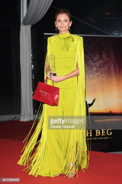 Lola KarimovaTillyaeva poses with the award at the Kineo Diamanti Awards during the 74th Venice Film Festival at Excelsior Hotel on September 3 2017...