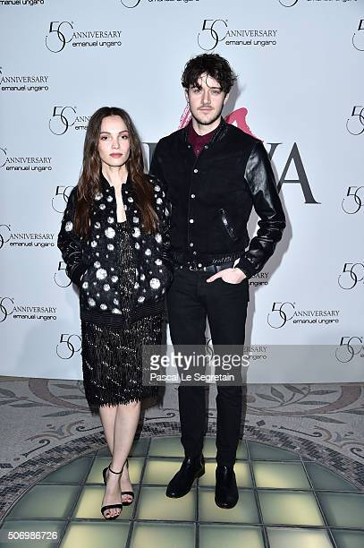 Lola Le Lann and Cesar Domboy attend the Launch Of The New Fragrance 'La Diva' And 50th Anniversary Of Emanuel Ungaro at Le Petit Palais on January...
