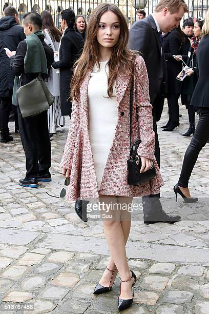 Lola Le Lann arrives at the Christian Dior show as part of the Paris Fashion Week Womenswear Fall/Winter 2016/2017 on March 4 2016 in Paris France