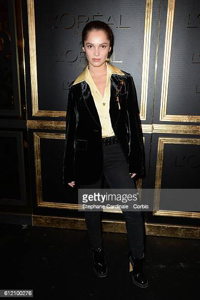 Lola Le Lann attends the Gold Obsession Party L'Oreal Paris Photocall as part of the Paris Fashion Week Womenswear Spring/Summer 2017 on October 2...