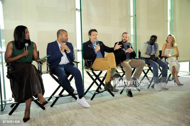 Lola Ogunnaike Jordan Peele Jason Blum Sean McKittrick Daniel Kaluuya and Allison Williams attend Universal Pictures' 'Get Out' Peggy Siegel Luncheon...