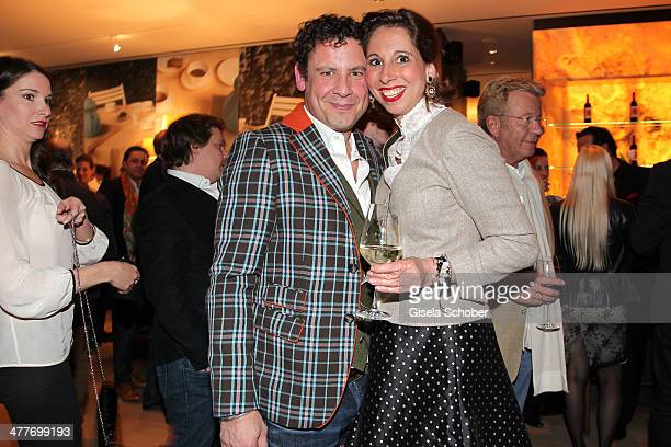 Lola Paltinger and boyfriend Andreas Meister attend the 'Art Food' cocktail at Ella restaurant at Lenbachhaus on March 10 2014 in Munich Germany