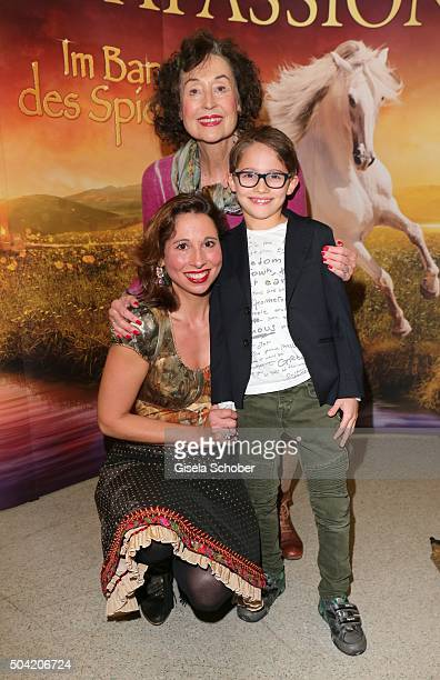 Lola Paltinger and her son Lio and her mother Brigitte Paltinger during the 'APASSIONATA Im Bann des Spiegels' VIP reception at Olympiahalle on...