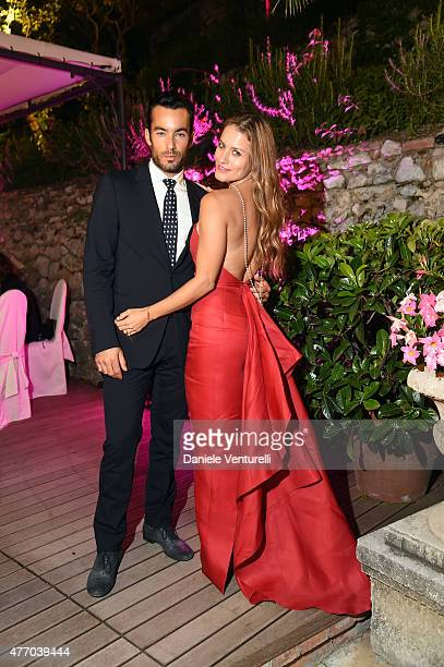 Lola Ponce and Aaron Diaz attend the 61th Taormina Film Fest Gala Dinner Opening Cerimony on June 13 2015 in Taormina Italy