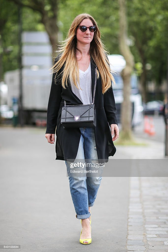 Lola Robbe is wearing a Dior bag, Dior shoes, Monkey jeans, and a Zara jacket, after the Dior show, during Paris Fashion Week Menswear Spring/summer 2017, on June 25, 2016 in Paris, France.