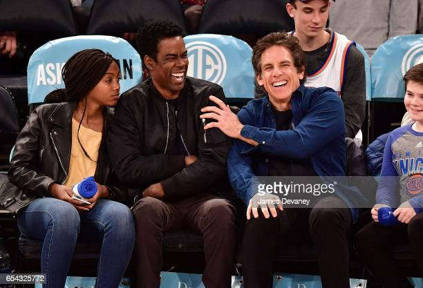 Lola Rock Chris Rock and Ben Stiller attend Brooklyn Nets Vs New York Knicks game at Madison Square Garden on March 16 2017 in New York City
