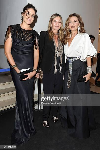 Lola Schnabel Eva Cavalli and Daniela Santanche attend amfAR Milano 2010 Red Carpet during Milan Fashion Week Womenswear Spring/Summer 2011 at La...
