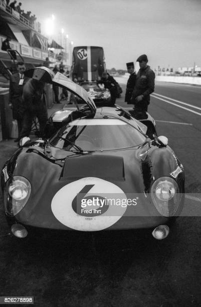 Lola T70 Mk 3 Chevrolet in front of stall in the evening Team Jackie Epstein Jackie Epstein Edward Ed Nelson #6 Le Mans 1968 24 hour Endurance Race...