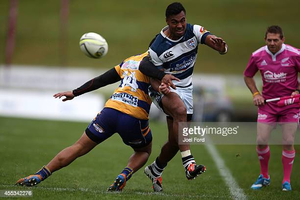 Lolagi Visinia of Auckland kicks the ball during the ITM Cup match between Bay of Plenty and Auckland on September 13 2014 in Rotorua New Zealand
