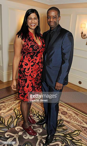 Lolita Chakrabarti and Adrian Lester attend a drinks reception at the 58th London Evening Standard Theatre Awards in association with Burberry at The...
