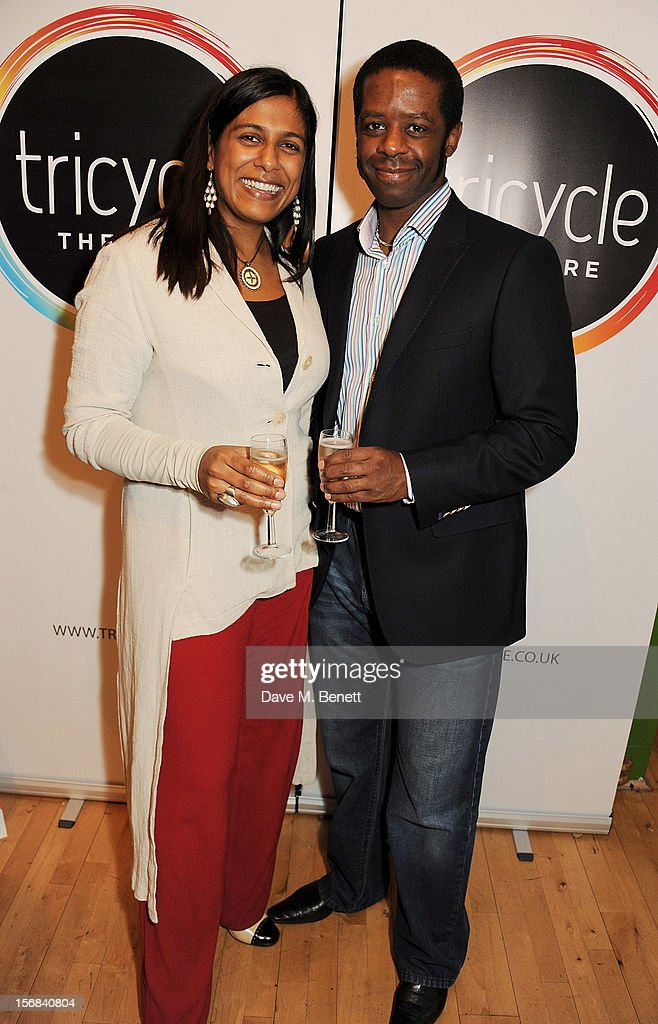 Lolita Chakrabarti (L) and <a gi-track='captionPersonalityLinkClicked' href=/galleries/search?phrase=Adrian+Lester&family=editorial&specificpeople=215408 ng-click='$event.stopPropagation()'>Adrian Lester</a> attend Tricycle Theatre's 'Red Velvet: The Director's Party' on November 22, 2012 in London, England.