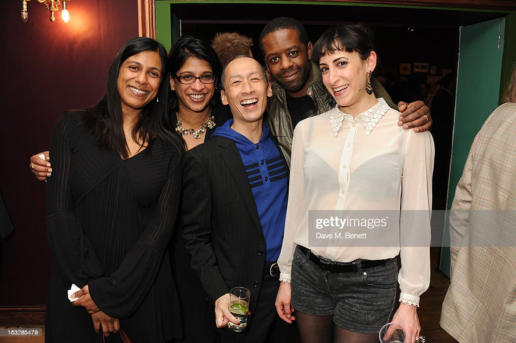 Lolita Chakrabarti, Indhu Rubasingham, Francis Jue, <a gi-track='captionPersonalityLinkClicked' href=/galleries/search?phrase=Adrian+Lester&family=editorial&specificpeople=215408 ng-click='$event.stopPropagation()'>Adrian Lester</a> and Noa Bodner attend an after party following the 'Paper Dolls' press night at Tricycle Theatre on March 6, 2013 in London, England.