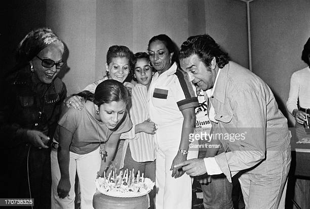 Lolita the daughter of the Spanish singer and dancer Lola Flores with her mother and her father the day of her 18th birthday 1976 Madrid Castilla La...