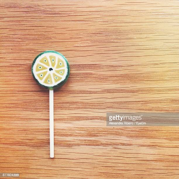 Lollipop on wooden table