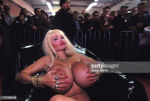 Lolo Ferrari in Eurotic 95 show of the Eroticism in Namur Belgium on June 10 1995
