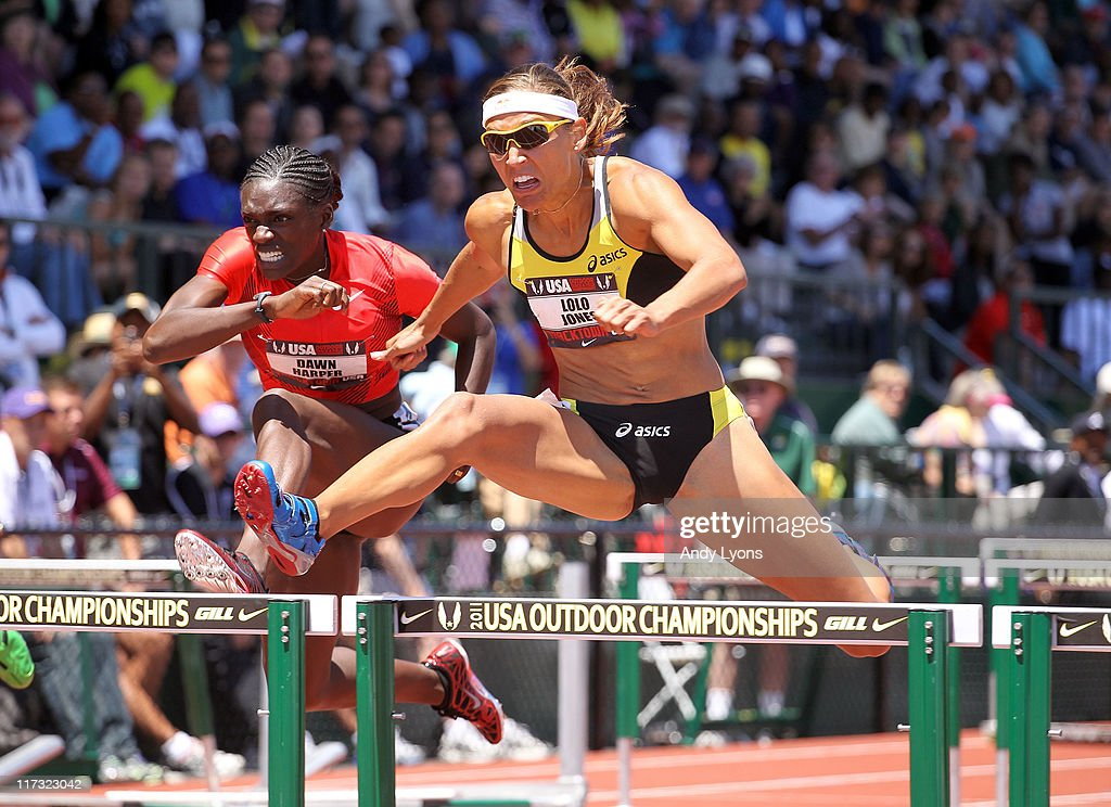 Lolo Jones clears a hurdle during the first round of the Women's 100 meter hurdles during the 2011 USA Outdoor Track & Field Championships at Hayward Field on June 25, 2011 in Eugene, Oregon.