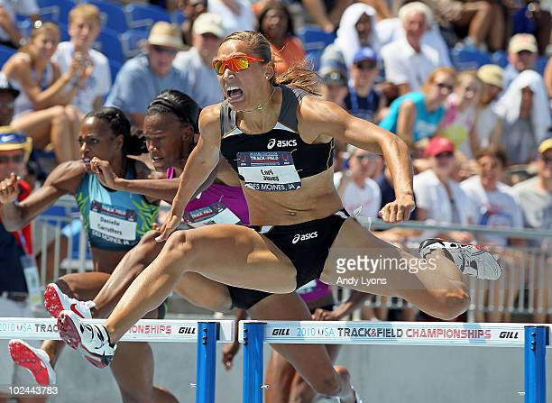 Lolo Jones clears a hurdle on the way to victory in the Womens 100 Meter Hurdles during the 2010 USA Outdoor Track Field Championships at Drake...