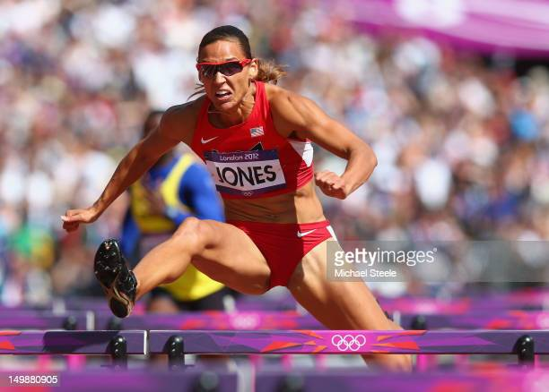 Lolo Jones of the United States competes in the Women's 100m Hurdles heat on Day 10 of the London 2012 Olympic Games at the Olympic Stadium on August...
