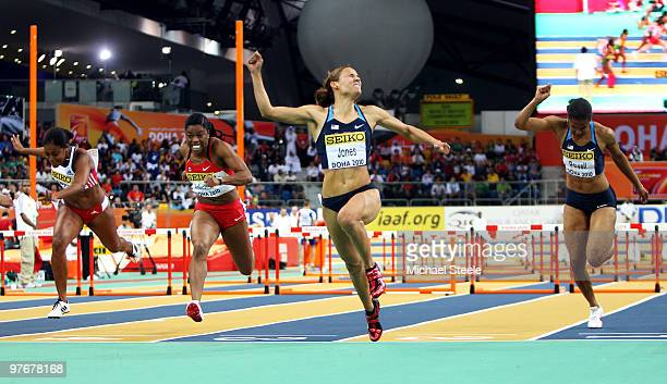 Lolo Jones of United States celebrates winning gold in the Womens 60m Hurdles Final during Day 2 of the IAAF World Indoor Championships at the Aspire...