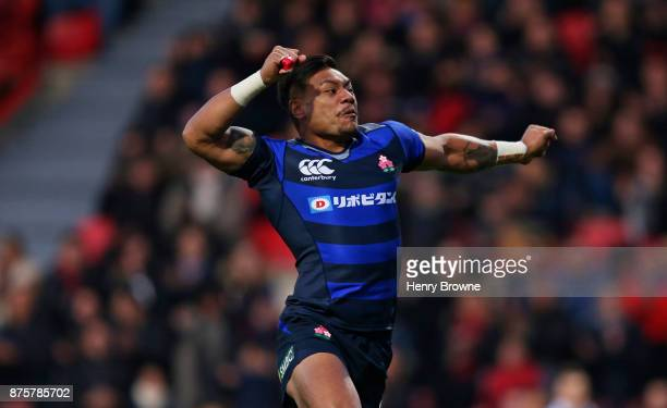 Lomano Lemeki of Japan celebrates after scoring their first try during the international match between Japan and Tonga at Stade Ernest Wallon on...