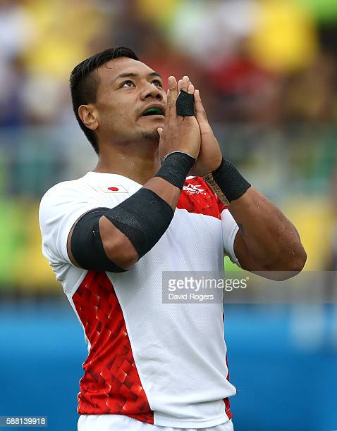 Lomano Lemeki of Japan celebrates scoring a try during the Men's Pool C Match 15 between Kenya and Japan on Day 5 of the Rio 2016 Olympic Games at...