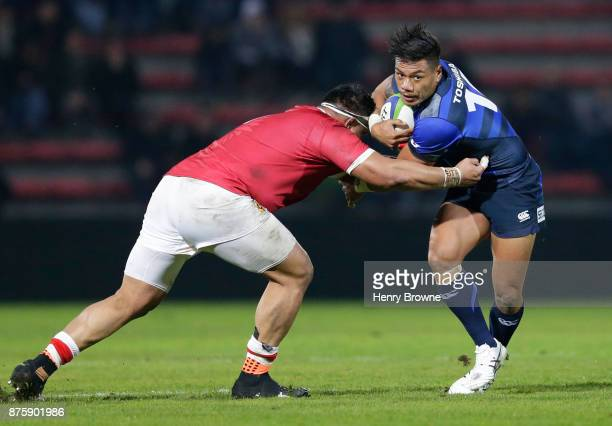 Lomano Lemeki of Japan during the international match between Japan and Tonga at Stade Ernest Wallon on November 18 2017 in Toulouse Kanagawa France