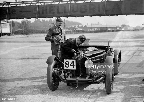 Lombard of HN and E Scholfield at the JCC Double Twelve Race Brooklands Surrey 1929 Artist Bill BrunellLombard 1098 cc Event Entry No 84 Drivers...