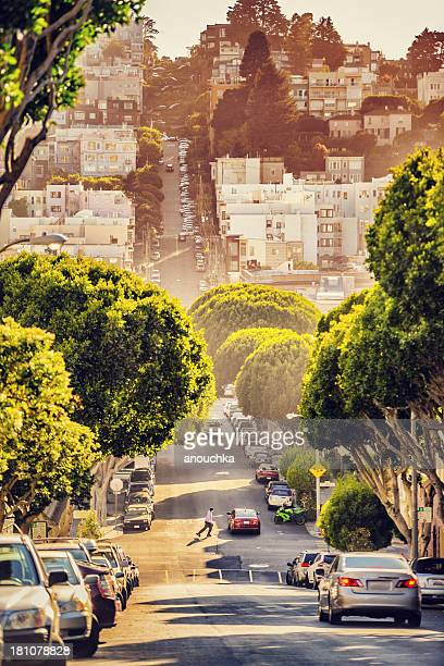 Lombard Street am Abend, San Francisco
