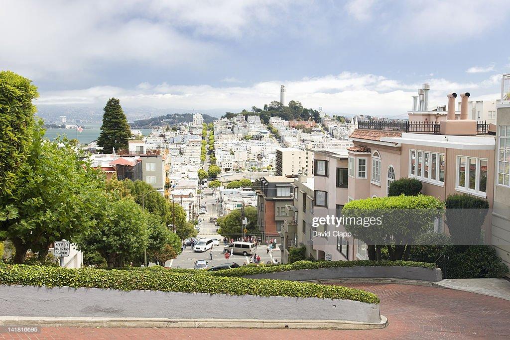 Lombard Street in San Francisco, California, United States of America, North America : Stock Photo
