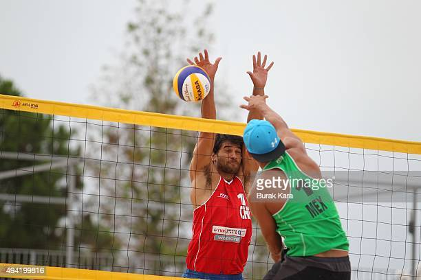 Lombardo Ontiveros of Mexico attacks during the 6th day of the FIVB Antalya Open beach volley tournament on October 25 2015 in Antalya Turkey