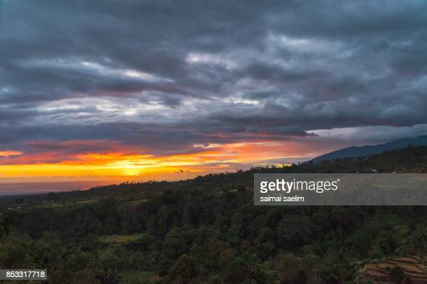 Lombok island at the sunrise , Indonesia.