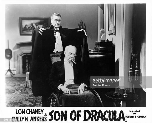 Lon Chaney Jr prepares to attack Samuel S Hinds in a scene from the film 'Son Of Dracula' 1943