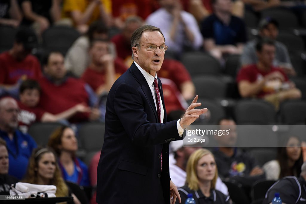<a gi-track='captionPersonalityLinkClicked' href=/galleries/search?phrase=Lon+Kruger&family=editorial&specificpeople=642672 ng-click='$event.stopPropagation()'>Lon Kruger</a> head coach of Oklahoma Sooners reacts in a game against the Oklahoma State Cowboys during the quarterfinal round of the Big 12 basketball tournament at Sprint Center on March 12, 2015 in Kansas City, Missouri.