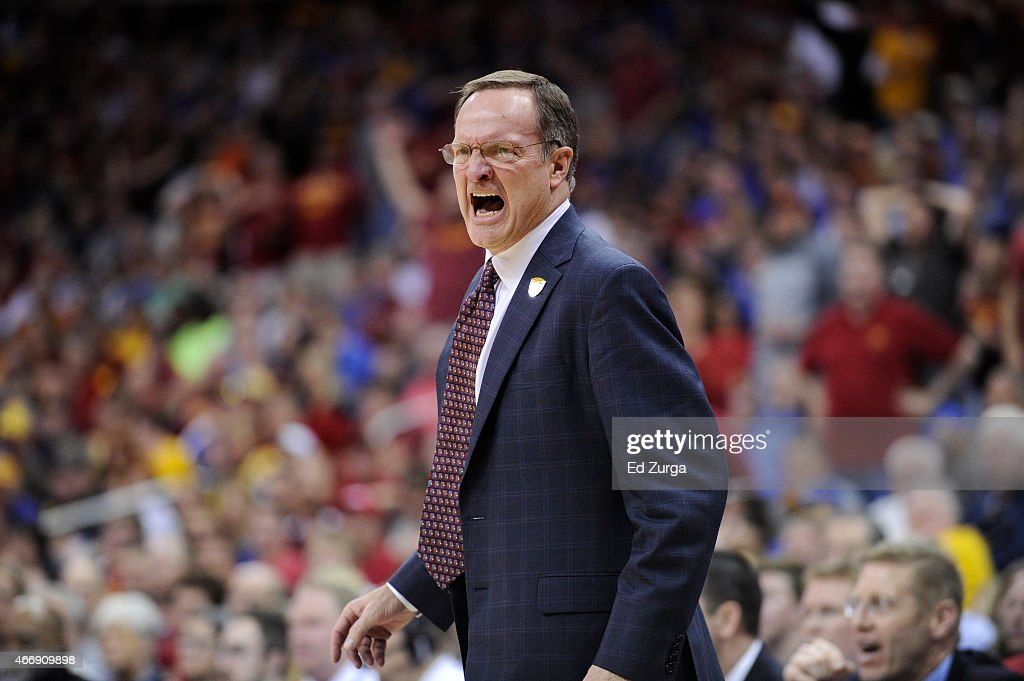 <a gi-track='captionPersonalityLinkClicked' href=/galleries/search?phrase=Lon+Kruger&family=editorial&specificpeople=642672 ng-click='$event.stopPropagation()'>Lon Kruger</a> head coach of the Oklahoma Sooners reacts against the Iowa State Cyclones during the semifinals round of the Big 12 basketball tournament at Sprint Center on March 13, 2015 in Kansas City, Missouri.