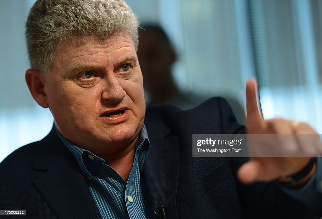 Lon Snowden, father of Edward Snowden talks to reporters at The Washington Post via Getty Images in Washington, DC on July 30, 2013. Snowden is a former technical contractor for the NSA and CIA who leaked top secret information to the press regarding government surveillance.