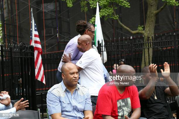 L Londell McMillan NYC Council Member Robert E Cornegy Jr Uncle Ralph McDaniels and DJ Mister Cee attend the ribbon cutting ceremony at Crispus...