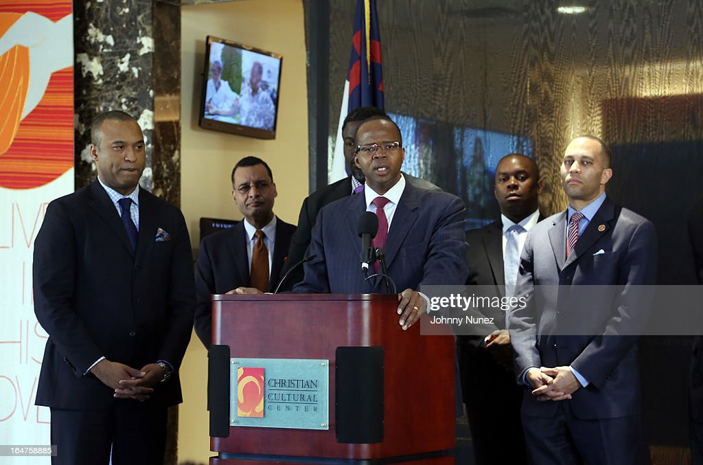 L. Londell McMillan, Rev. A.R. Bernard, Michael Blue Williams (rear), Richard R. Buery, Jr., and Congressman Hakeem Jeffries attend the Guns 4 Greatness Press Conference at Christian Cultural Center on March 27, 2013, in the Brooklyn borough of New York City.
