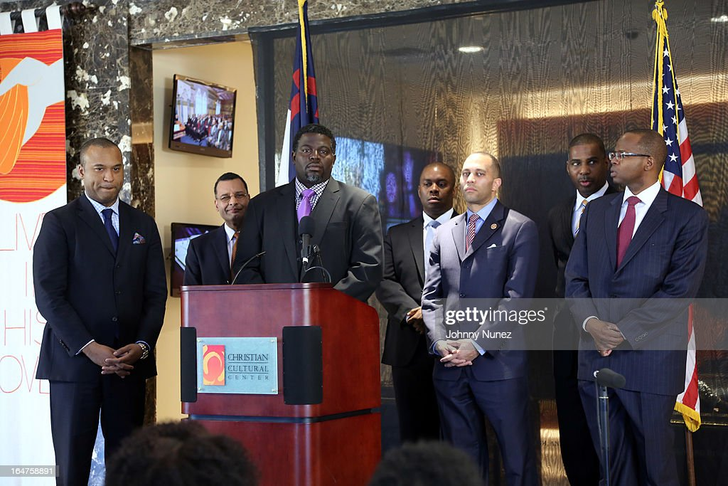 L. Londell McMillan, Rev. A.R. Bernard, Michael Blue Williams, Richard R. Buery, Jr., Congressman Hakeem Jeffries, Gregory A. Thomas, and Ken Thompson attend the Guns 4 Greatness Press Conference at Christian Cultural Center on March 27, 2013, in the Brooklyn borough of New York City.