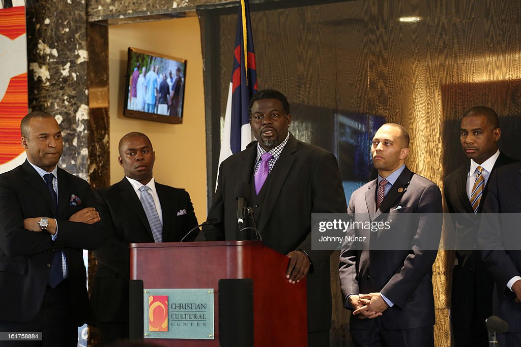 L. Londell McMillan, Richard R. Buery, Jr., Michael Blue Williams, Congressman Hakeem Jeffries, and Gregory A. Thomas attend the Guns 4 Greatness Press Conference at Christian Cultural Center on March 27, 2013, in the Brooklyn borough of New York City.