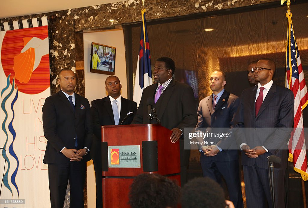 L. Londell McMillan, Richard R. Buery, Jr., Michael Blue Williams, Congressman Hakeem Jeffries, Gregory A. Thomas, and Ken Thompson attend the Guns 4 Greatness Press Conference at Christian Cultural Center on March 27, 2013, in the Brooklyn borough of New York City.