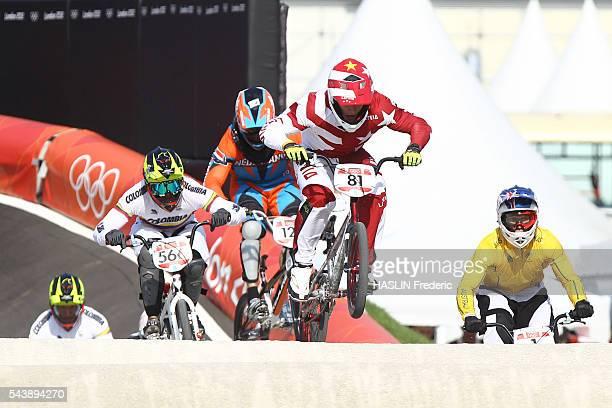 London 2012 Cycling BMX London 2012 Cycling BMX Men's final STROMBERGS gold medalist van der BIEZEN 4th OQUENDO ZABALA bronze medalist WILLOUGHBY...