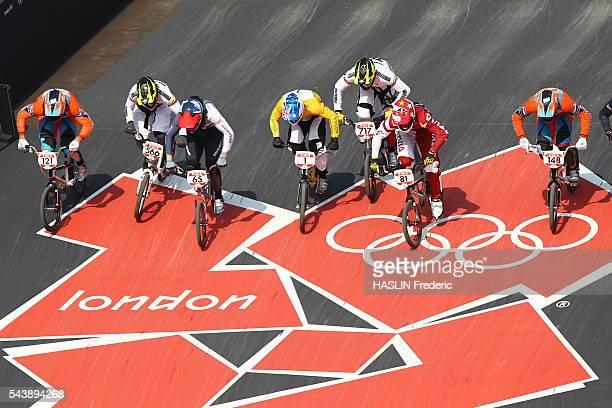 London 2012 Cycling BMX Men's final van der BIEZEN 4th OQUENDO ZABALA bronze medalist PHILLIPS 8th WILLOUGHBY silver medalist JIMENEZ CAICEDO...