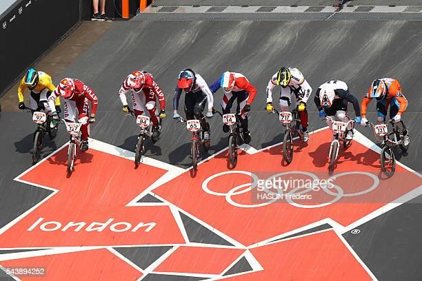 London 2012 Cycling BMX Men's semifinal YOUNG TREIMANIS VEIDE PHILLIPS CALEYRON JIMENEZ CAICEDO FIELDS van der BIEZEN