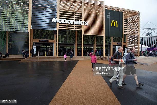 London 2012 Olympic Park in Stratford East London Huge McDonalds restaurant Being a main sponsor the fast food chain was allowed to build two big...