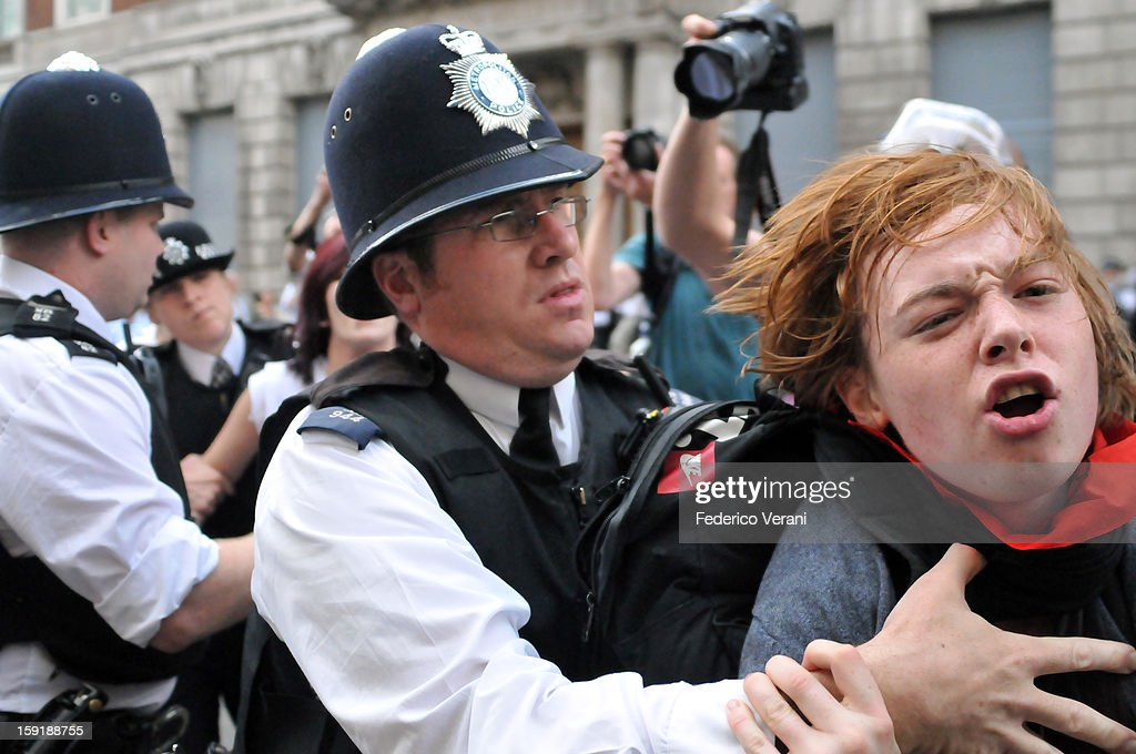CONTENT] London 30 June 2011, A protester arrested during the demonstration.