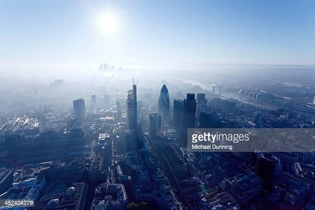 London aerial view at dawn