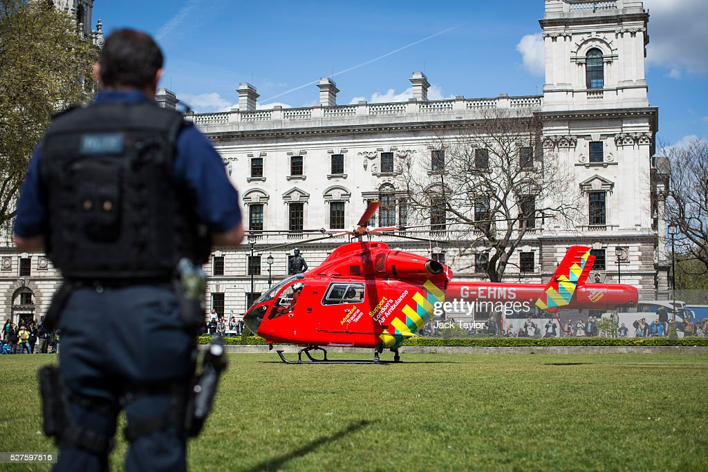 A London Air Ambulance in Parliament Square on May 3, 2016 in London, England. The Air Ambulance is thought have been for a man who jumped off Westminster Bridge.