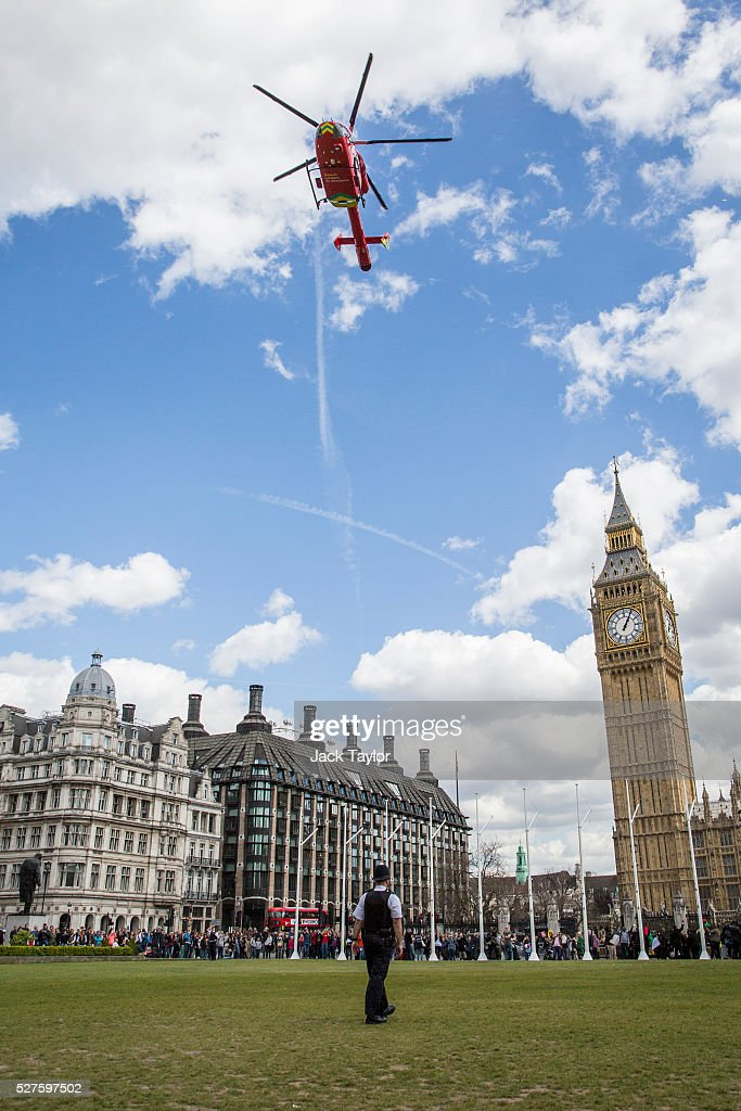 A London Air Ambulance takes off from Parliament Square on May 3, 2016 in London, England. The Air Ambulance is thought have been for a man who jumped off Westminster Bridge.