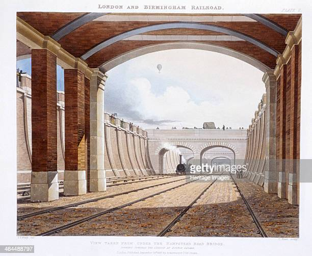 London and Birmingham Railway 1837 The view of the railway was taken from under a bridge on Hampstead Road looking towards Euston Station with a...