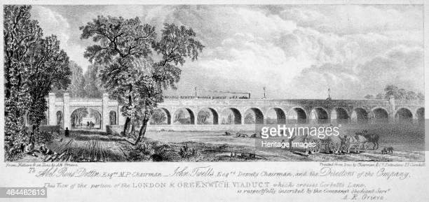 London and Greenwich Viaduct Bermondsey London 1835 View of the portion of the London and Greenwich Viaduct which crosses Corbett's Lane In the...
